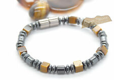 Tigers Eye Magnetic Bracelet Mens Classic look~Smooth Comfort Fit-Clearance