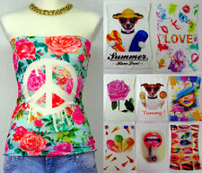 Sommer Bandeau Blogger Top Motiv Shirt Hund Blumen Peace Love Summer 34 36 Beach