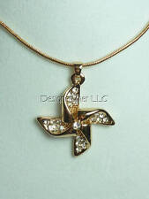 "Summer pinwheel necklace womens gift 16-18"" crystals Choice gold silver tone"
