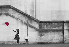 ZEIT4BILD BANKSY THERE IS ALWAYS HOPE Wandmalerei GRAFIKEN LEINWAND BILD GICLEE