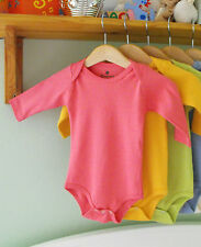 Rose Pink 100% Organic Cotton Clothes Baby Grows Bodysuit LONG Sleeve