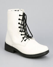 Qupid Missile-04 New Women Lace Up Round Toe Combat Boot w/ Side Zipper