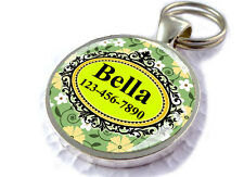 Floral ID Pet Tags Custom Personalized for Dogs and Cats Garden Spring