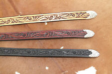 Western Leather Tooled Hatband Rodeo Cowboy Fashion Tip Horse Show Jeans Silver