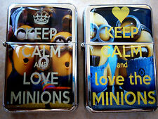 KEEP CALM AND LOVE MINIONS STAR FLIP LIGHTER & EXTRA ZIPPO FLINTS DESPICABLE ME