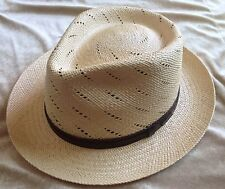 Stetson Lido Genuine Panama Straw Fedora Trilby Hat in Natural