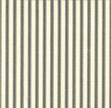 "84"" French Country Ticking Stripe Brindle Gray Fabric Shower Curtain Cotton"