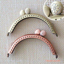 "Metal Purse Frame w/Daisy Carved Clasp Top - 8.5cm/ 3.4"" Sewn type - DIY Craft"