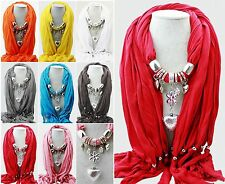 Candy Colors Jewelry Heart Charm Scarf Pendant Shawl Love Long Soft Neck Collar
