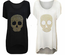WOMENS LADIES PLUS SIZE UK 14-28 GOTHIC PUNK TATTOO AZTEC SKULL GOLD STUDED TOP