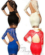 GENUINE ASOS John Zack Backless Scalloped Lace Dress Sz6-16 Black/Cream/Blue/Red
