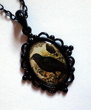 Oddities GOTH Halloween STEAMPUNK Victorian CAMEO BLACK Baroque Pendant Necklace
