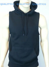 Men's Black Hoodie Vest sleeveless S-4XL tank top gym mma boxing running workout