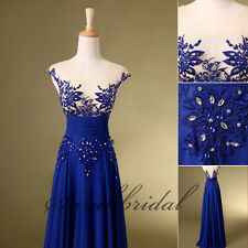 Design Royal Blue New Prom Dress See Through Appliqe Chiffon Party Evening Gown
