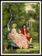 Conversation in a Park ORIGINAL PAINTING Study of Thomas Gainsborough Art Print