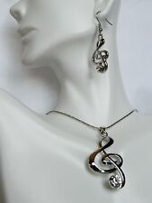 Necklace And Earrings Set Beautiful Pendant Treble Key Music Note Gem 3 COLORS