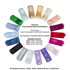 Neotrims Finest Quality Double Sided Satin Ribbon,Cheap Price,3 Sizes,18 Colours