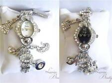 Ladies Charm Bracelet Watch with Hearts & Crystals Silver BNIB HENLEY