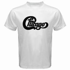 New CHICAGO Band Classic Logo Concert Tour Men's White T-Shirt Size S to 3XL