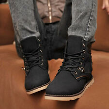 Mens Winter Casual Leather High Top Lace up Slip on Comfy Shoes Ankle Boots 1099