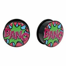 2X Earring Plugs 1 Pair Acrylic Comic Book  BANG Flared Plugs With Black O-RING