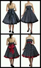Black Polka Dot Pencil Dess Rockabilly Swing Work Retro Pin Up 40s 50s Flared 8