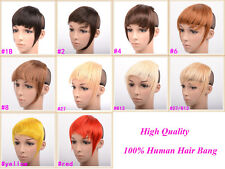 25G Clip In On 100%Real Remy Human Hair Extensions Fringe/Bangs Bang Mix Colors