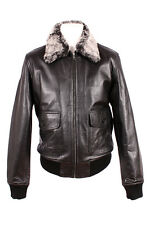 TOP GUN BLACK Plain Fur Men's Jet Fighter Bomber Air Force Pilot Leather Jacket