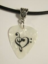 Custom His/Her Clef Heart Leather Guitar Pick Necklace