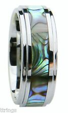 8mm Tungsten Carbide Wedding Band Ring Abalone Shell Size 8-16 Men's modern Band