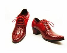 fashion dress pointed toe lace Comfort  faux leather cuban heel mens  shoes