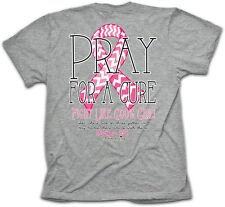 Womens Christian T-Shirt Pray For A Cure Cherished Girl Kerusso BRAND NEW