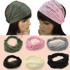 New Fashion Chic Bandanas Lace Head Wraps Women Lady Girls Wide Headband Gift