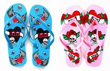 Pair of Tattoo Style Flip Flop Shoes Sandal Women, Choose 1 between 7 Styles