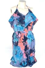 Roxy Blue Floral Halter Summer Sun Dress Women's NWT
