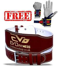 EVO Fitness Pure Leather Gym Belts Weightlifting Straps Back Support Wraps Strap