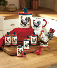 NEW Country Rooster Kitchen Collection Canister Measuring Cup Spoons Drawer Pull