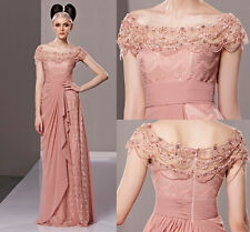 Dusty Pink Lace Shoulder Evening Prom Bridesmaid Ball Wedding Gown Maxi Dress