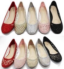 New Walstar Summer Laced Mesh Crown Accent Flat Shoes For Women