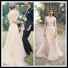 Vintage 2014 Champagne Sweetheart Ruffles Bridal Gown Cap Sleeve Wedding Dresses