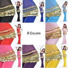 Belly Dance Dancing Hip Scarf Skirt Wrap Costumes Gold Coins Belt velvet 8 color