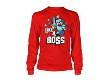 Minecraft Like A Boss Red Youth Long Sleeves T Shirt New Tee Jinx Mojang Boys