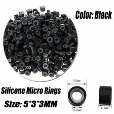 Lot of 100/200/300/500pc Silicone Micro Ring Feather Hair Extensions Crimp Beads
