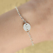 Lovely Fun Handmade Letters name Initial charm  A-Z  Bracelet Silver plate