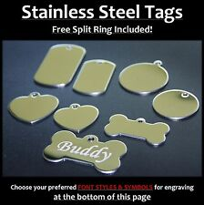 Stainless Steel Pet Tags With FREE Personalised Engraving for Dog Cat Pets Army