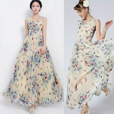 Celebrity Women Chiffon Floral Boho Beach Dress Maxi Pleated Swing Long Sundress