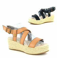 Ladies Womens Wedge Heel Espadrille Chunky Platform Gladiator Sandals Shoes Size