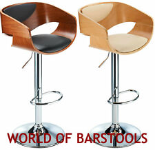 "DESIGNER ""SUMMIT"" BAR STOOL IN WALNUT & OAK"