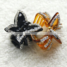 Korean Style Fashion Women Butterfly Crystal Acrylic Hair Claw Clips Barrette 1p