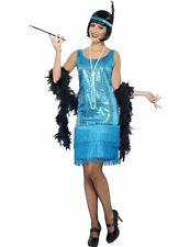 Ladies 20s Blue Sequin Flapper Charleston Party Fancy Dress Costume